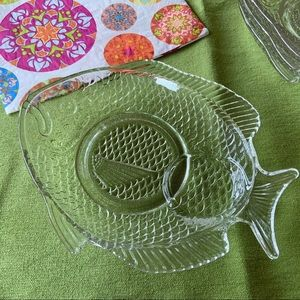 Set of 4 glass fish seafood appetizer plates